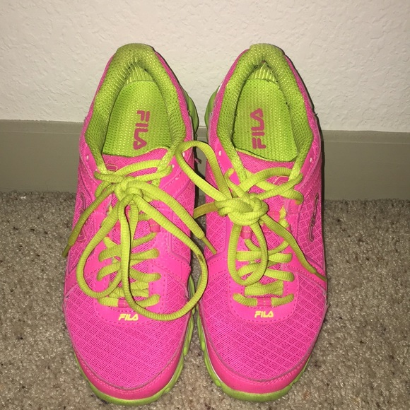 b928d122 Fila neon pink and green workout shoes